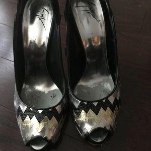Giuseppe Zanotti foil metallic heels